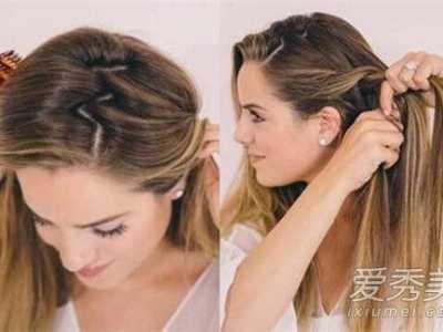 侧编发一边披的发型 侧麻花辫